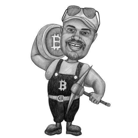 Man with Bitcoin Caricature in Black and White Style from Photos for Custom Gift - example