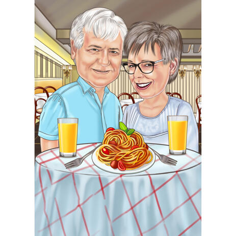Couple Caricature from Photos in Restaurant - example