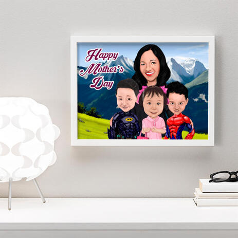 Personalized Photo Print: Custom Cartoon Illustration of Mother in Colored Digital Style - example
