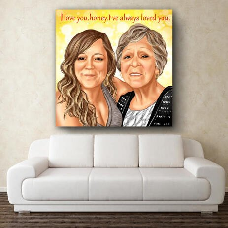 Two Persons Cartoon Portrait from Photos in Color Style on Canvas - example