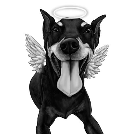 Dog Memorial Cartoon Portrait in Black and White Style with Angel Wings and Halo - example
