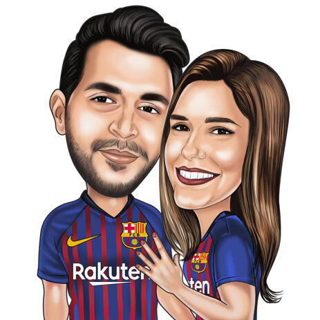 Sports Couple Caricature from Photos for Sport Fans - example