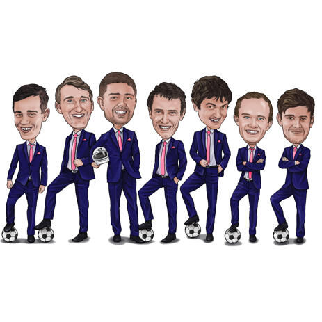 Professional Group Caricature from Photos in Colored Style - example