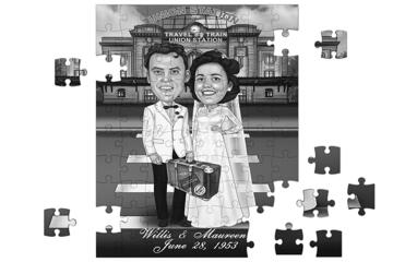 Funny Wedding Caricature for Bride and Groom Printed on Puzzle