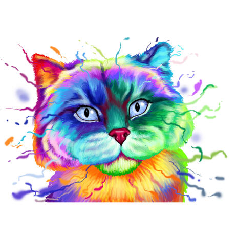 Beautiful British Cat Portrait Caricature in Rainbow Watercolor Style from Photos - example