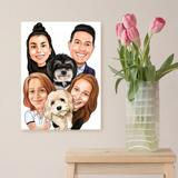 Family with Pets Caricature as Canvas