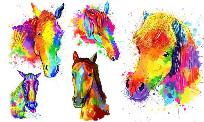 Watercolor Horse Portrait large example