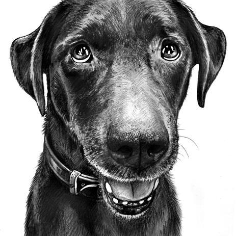 Portrét karikatura psa v černém a bílém stylu z fotografií - example