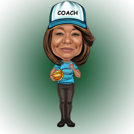 Coach Full Body Caricature from Photos for Custom Trainer Gift - example