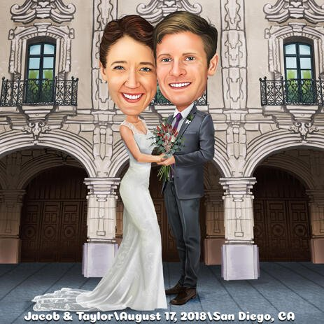 Full Body Couple Wedding Cartoon Drawing in Colored Digital Style - example