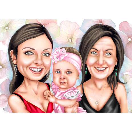 Grandmother with Mother and Baby Girl Custom Caricature Portrait from Photos - example
