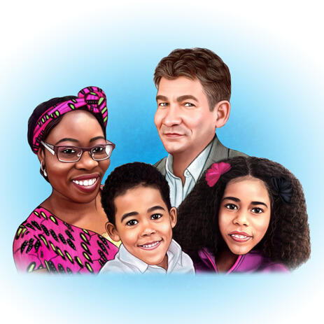 Family Caricature Portrait with Single Color Background - example