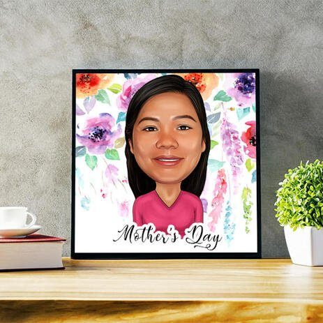 Custom Print on Photo Paper: Woman's Cartoon Drawing in Colored Digital Style - example