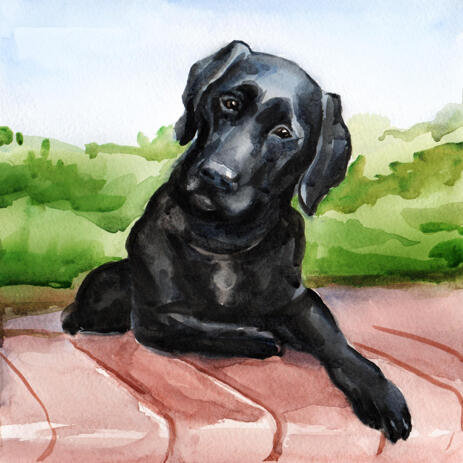 Exclusive Watercolor Dog Painting from Photos with Colored Background - example