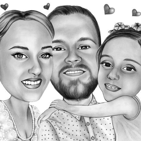 Caricatura familială din fotografii în stil creioane alb-negru - example