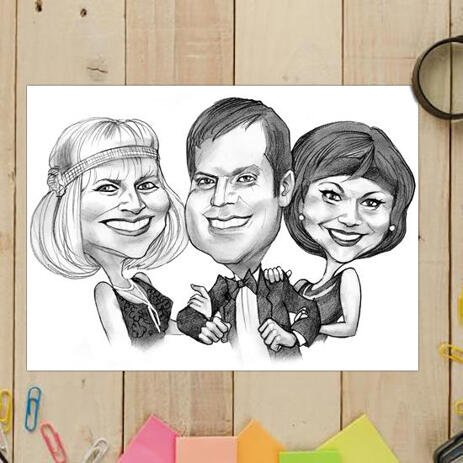 Three Persons Cartoon Caricature in Funny Exaggerated Cartoon Style from Photos on Poster - example