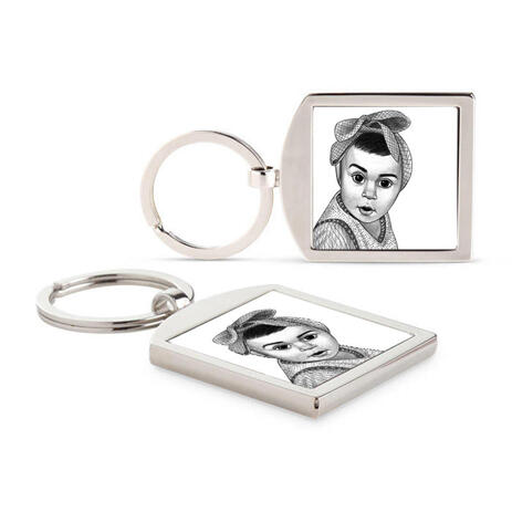 Kid Portrait from Photos as Printed Keyrings - example
