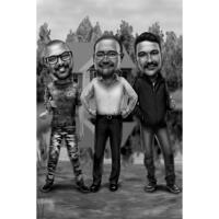 Three Persons Full Body Caricature in Black and White Style