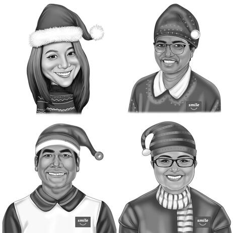 Christmas Caricature of 1 Person in Black and White Style - example