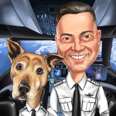 Pilot with Dog Caricature from Photos - example