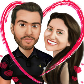 Valentines Day Couple Caricature in Heart
