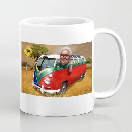 كوب كاريكاتير: كارتون سائق الحافلة من الصور مع خلفية مخصصة - example