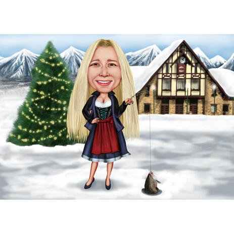 Custom Christmas Caricature: Full Body Person with Colored Background - example