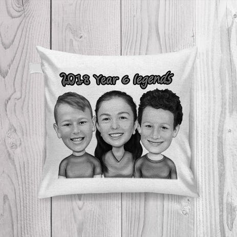 Children Caricature Printed on Pillow - example