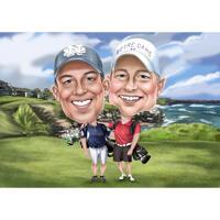 Zwei-Personen-Reisende Karikatur im lustigen übertriebenen Stil mit individuellem Hintergrund