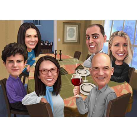 Thanksgiving Dinner Family Caricature from Photos in Colored Style - example