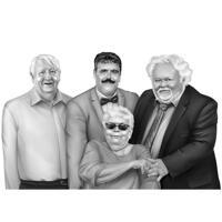 Memorial Family Custom Line Portrait Drawing i svartvit stil från foton