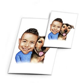 Kid with Dog Caricature on Magnetes