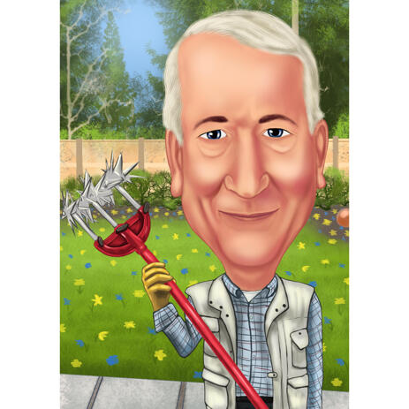 Garden Worker Cartoon Drawing in Color Style with Custom Background - example