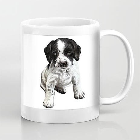 Custom Pet Portrait on Mug Hand Drawn in Full Body Type from Photos - example