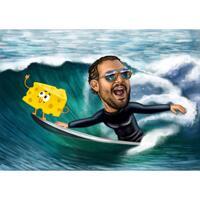 Anpassad surfare på vågkarikatyr i färgad stil från foto