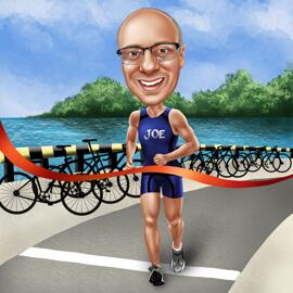 Triathlon Caricature from Photos for Triathlon Fans