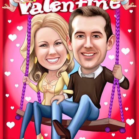 Be My Valentine - Caricature de couple Saint Valentin à partir de photos - example