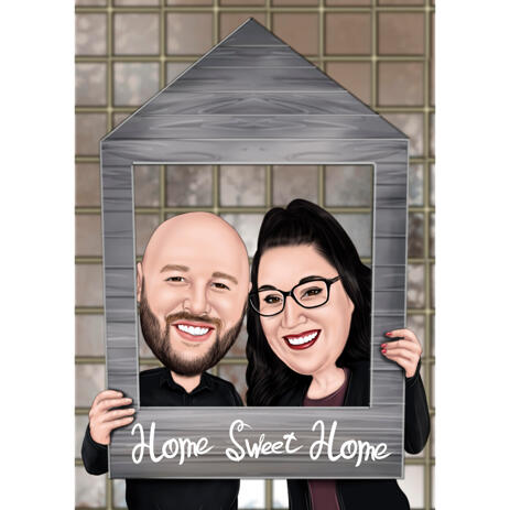 Custom Home Sweet Home Couple Caricature Portrait from Photos - example