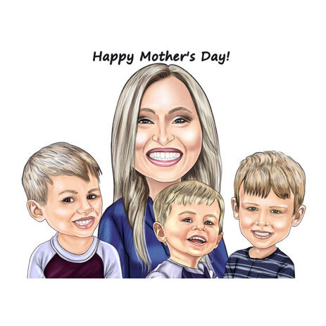 Mother with Three Kids Caricature in Colored Style from Photos - example