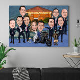 Group Wedding Caricature for Wedding Canvas Gift