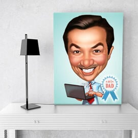 Digital Print on Canvas: Father's Day Caricature Drawing