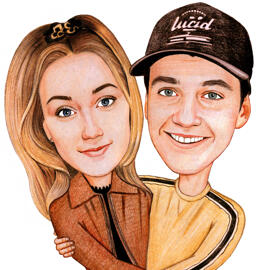 Couple Cartoon from Photos Drawn in Pencils