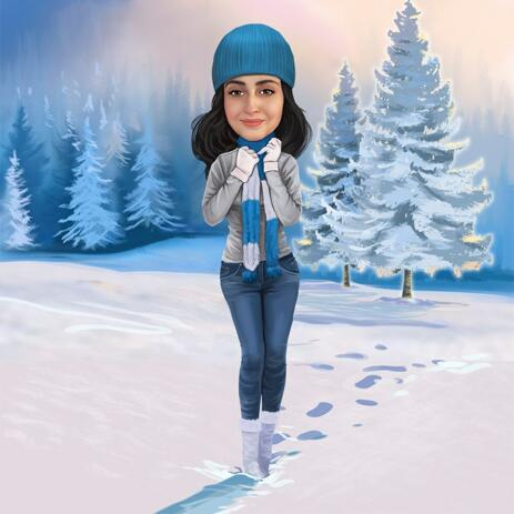 Winter Caricature Portrait with Snow Background - example