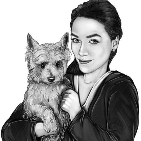 Hund mit Besitzerporträt von Fotos in Schwarzweiss - example
