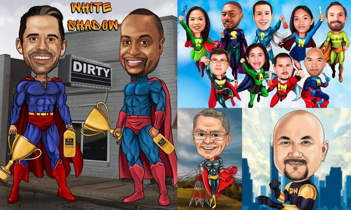 Superhero Caricatures large example