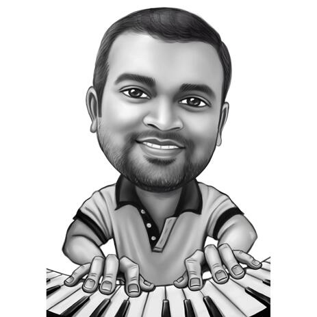 Person Playing the Piano Caricature in Black and White Style - example