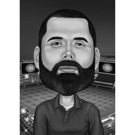 Sport Caricature with Stadium Background in Black and White Style - example