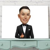 Groom Caricature from Photos on Canvas