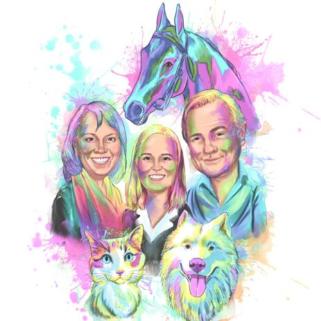 Pastel Family Portrait from Photos in Digital Watercolor Style - example