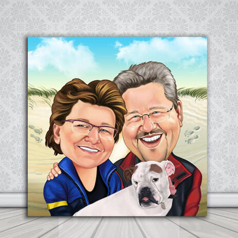 Couple with Pet Colored Caricature from Photos on Personalized Canvas - example